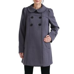 117369637fe4a Momo Maternity Women`s Wool Blend Peter Pan Collar `Natalie` Coat in Black,  Navy, or Gray (bestseller)