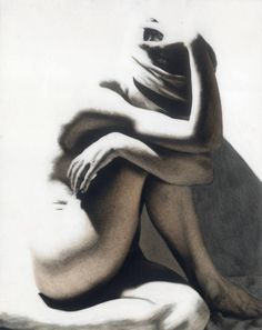 Nude I (self-portrait). Charcoal on 8x10 gelatin silver print, on AGFA paper, sprayed with fine art fixative. Susan Merrell