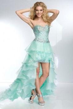 Sheath/Column Sweetheart Strapless Organza High Low Hem Prom Dress - IZIDRESSES.com at IZIDRESSES.com