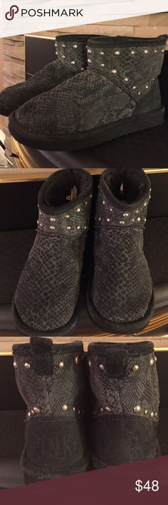 Victoria's Secret studded short boots.  Edgy short boots by Victoria's Secret, snakeskin print.  Studded, faux fur lined. In good condition. Victoria's Secret Shoes Winter & Rain Boots