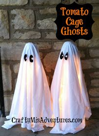 Very cute DIY ghosts for outside. All you need is a tomato cage, yarn, lights, and a sheet.