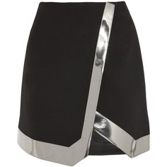 Mugler Mirrored faux leather-trimmed wool-crepe mini skirt, Black,... (8,075 HKD) ❤ liked on Polyvore featuring skirts, mini skirts, mugler, panel skirt, black skirt, woolen skirts, black mini skirt and thierry mugler