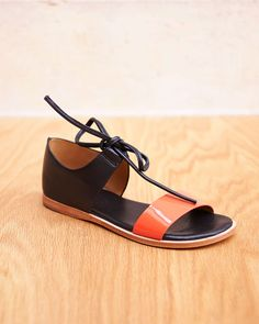 f9fc1c8a478 Noss Strapped Cuffed Tie Sandal in Coral Black By Fiel