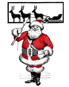 Free Vintage Clip Art - Santa with Reindeer Silhouette - The Graphics Fairy