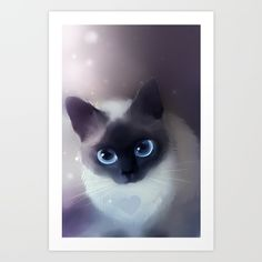 Siamese Cat Art Print by Apofiss. Worldwide shipping available at Society6.com. Just one of millions of high quality products available.