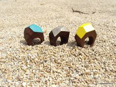 Recycled wood rings.