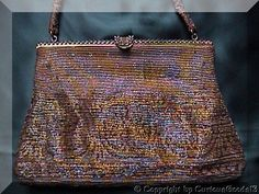 Antique c.1920 Purse FRENCH Langlois & Jargeais STEEL MICRO BEADED BAG MARCASITE #FRENCHLangloisJargeais #EveningBag