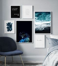 We love this collage of printed #photos and quotes! #homedecor #officedecor