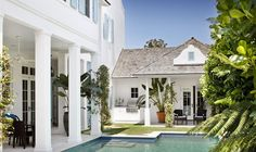 I could have moved here.in my dreams Peeing In The Pool, Building A House, Building Ideas, Grey Exterior, House Landscape, Outside Living, British Colonial, Garden Pool, Florida Home