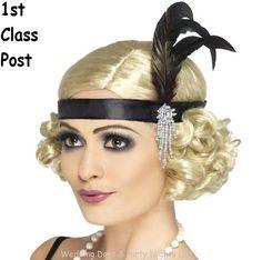 Ladies 20s Charleston Feather Headband 1920s Flapper Gangsters Moll Fancy Dress | eBay