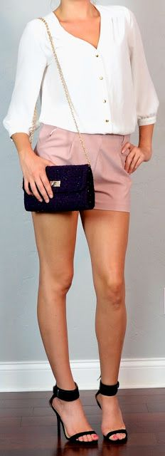 Outfit Posts: guest post - sister week: white blouse, pink shorts, black heels