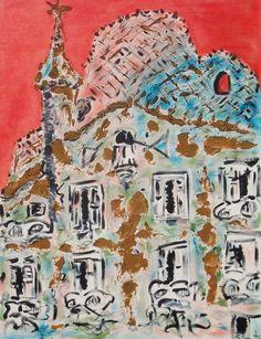 Pintura de la casa Batlló# Pinturas sobre Barcelona# pinturas murales# pintura Sobre Gaudí Barcelona# Casa Batlló cuadro Gaudí#