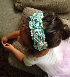 Teal Paisley Print Shabby Chiffon Fabric Flower Headband, Baby headbands, Baby Girl Headband, Infant Headband, Women Headband on Etsy