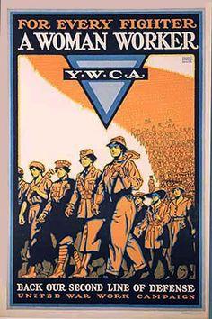 1918 For Every Fighter A Women Worker WW1 Vintage YWCA Poster - Artist: Ernest Hamlin Baker