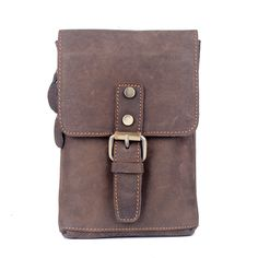 2016 new fashion genuine leather men messenger bag high quality crazy horse leather  casual shoulder bag waist bag cellphone bag de45335e05ba7