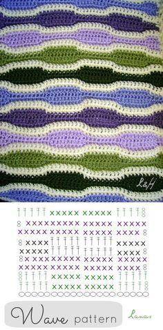 Crochet Wave Stitch - Chart ❥ 4U // hf