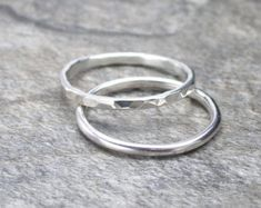 Sterling Silver Band Ring Stacking Hammered Ring Minimalist