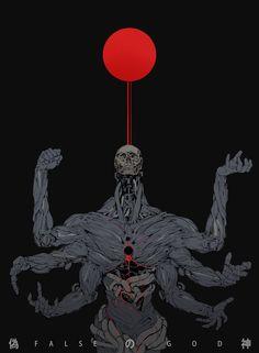 ArtStation - False God, Ching Yeh Put on a shirt Arte Horror, Horror Art, Art And Illustration, Monster Illustration, Monster Art, Dark Fantasy Art, Anime Kunst, Anime Art, Manga Art