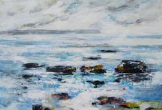 Water coming over Rocks by Val Uglow from the Contemporary Passions exhibition at Harbour House, June 2017