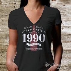 25th Birthday 1990 Birthday Womens V-Neck 25th by RareOccasions