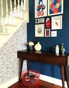 Entryway makeover using my Little Village wallpaper pattern for Chasing Paper