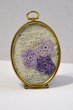 Vintage Brass Frame Crochet Flowers Lace Old by LittlestSister, $12.75