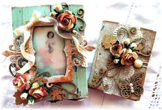 Match Box Mini Album, using Imaginarium Designs chipboard elements, a range of flowers and Kaisercraft papers.