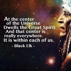 ...everything is consciousness, Black Elk quote: At the center of the Universe dwells the Great Spirit. And that center is really everywhere. It is within each of us.