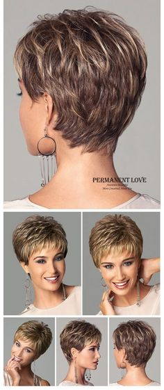 Womens synthetic short wigs pixie cut hairstyle blonde bangs dark roots natural straight hair wigs fashion sexy full wigs peruca on AliExpress Short Hair Cuts For Women, Short Grey Hair, Short Hairstyles For Women, Wig Hairstyles, Straight Hairstyles, Glasses Hairstyles, Layered Hairstyles, Popular Hairstyles, Trendy Hairstyles
