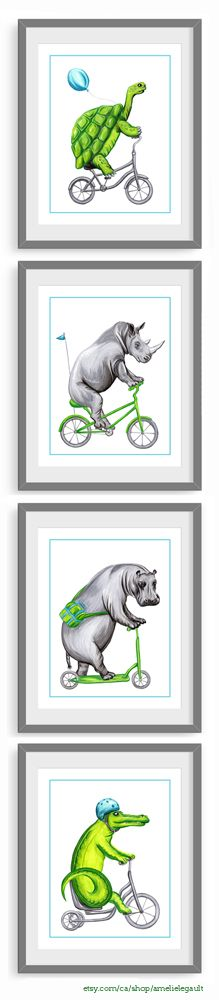 Set of 4 animals on bicycle prints turtle, rhino, hippo and crocodile! by Amelie Legault on Etsy, start at $24.00 Click here for more info:  https://www.etsy.com/ca/listing/226008902/four-prints-crocodile-turtle-hippo-and?ref=shop_home_active_19 #crocodile #turtle #tortue #hippo #rhino #amelielegault #etsy #print #affiche