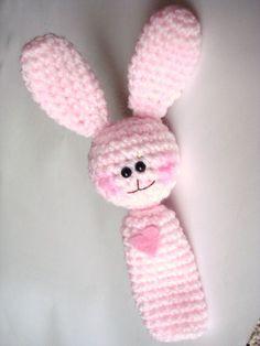 Finger Puppet - Amigurumi Crocheted Pink Bunny $10
