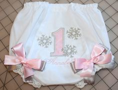 Baby girls first birthday diaper cover bloomer, #1 applique accented with bows and personalized