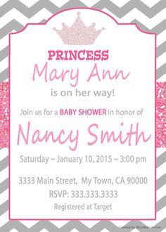 Princess Crown Baby Girl Shower invitations or por M2MPartyDesigns