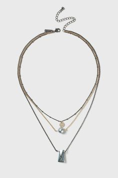 Topshop Pearl and Stone Multirow Necklace