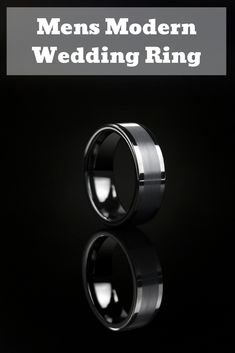 This modern men's wedding ring is crafted out of tungsten carbide. This ring features a brushed textured stripe and high polish edges. This modern ring is durable and comfortable. He really wants a modern wedding ring and this one is perfect! #modernweddingring #mensweddring #mensweddingband