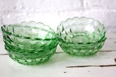 I love depression glass.  I've always thought that it's so beautiful.  All the different colors make me happy.  WhenI have a house and some room one day I will collect this stuff.