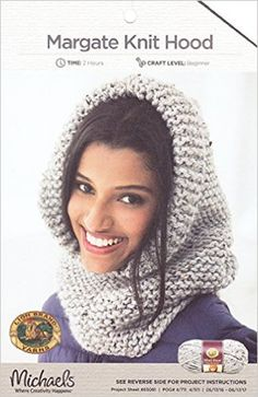 """Lion Brand Knitting Pattern, Margate Knit Hood, Finished Circumference Approx. 61cm 24"""" Finished Height Approx. 48.5cm 19"""": Amazon.co.uk: Lion Brand Michaels: Books"""