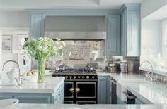 Jennifer Lopez's light blue and gray kitchen