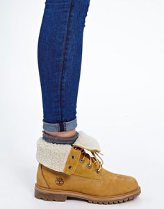 Stussy Timberland Authentics Teddy Fleece Fold Down Lace Up Boot in ...