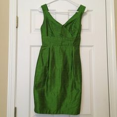 Lula Kate Green Silk Dress Lula Kate Green Silk Dress... 100% silk. Textured look is so fun and flattering. Worn once for a few hours in a wedding. Size 0. Excellent condition and amazing quality. Zipper back. Only flaw is slightly torn back slit...can very easily be fixed... I'm just not sew savvy. Not noticed when worn! Lula Kate Dresses Wedding