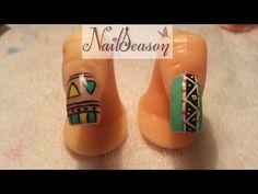 ▶ como hacer uñas tribales / tutorial tribal nail art paso a paso - YouTube