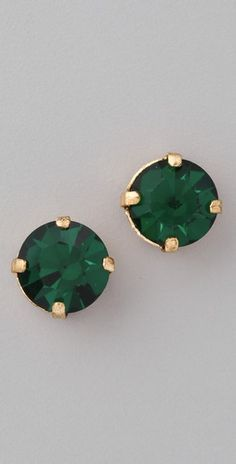 Vanessa Mooney  The Barbie Stud Earrings in emerald. love the green.