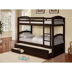 Espresso Finish Wood Twin Size Bunk Bed With Trundle & Storage Drawers.Tri-level bunk bed is made with pine wood finished in a espresso color. This bed can sleep 3 levels. Twin/Twin + a pull out bed with 3 storage drawers underneath. Underbed Storage Drawers, Trundle Bed With Storage, Under Bed Storage, Adult Bunk Beds, Twin Bunk Beds, Kids Bunk Beds, Triple Bunk Beds, Kids Toddler Bed, Baby Kids