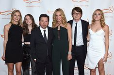 Schuyler Frances Fox, Esmé Annabelle Fox, Sam Michael Fox, Michael J. Fox, Tracy Pollan and Aquinnah Kathleen Fox on the red carpet of A Funny Thing Happened On The Way To Cure Parkinson's benefitting The Michael J. Fox Foundation at the Hilton New York on November 11, 2017.