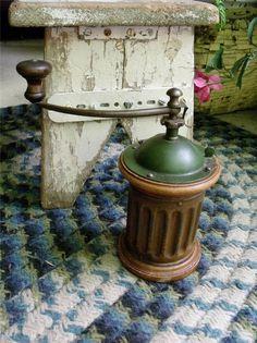 Primitive Antique Goldenberg Coffee Grinder Mill Column Shape Wood Iron & Tin