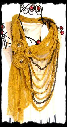 Etsy Transaction - Scarf Bib Necklace cowl neck Mustard Huge Fabric Rose Necklace French Quarter