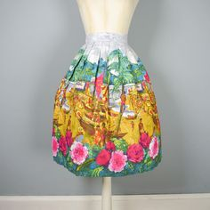 50s NOVELTY skirt in vivid EXOTIC beach landscape with PALM
