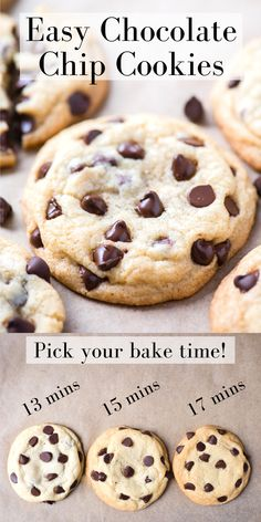 Easy chocolate chip cookies are ready to bake in 10 minutes because you don't chill the dough! Our chocolate chip cookies are chewy with crispy edges and soft insides! They stay thick and don't spread too thin, learn our quick tips for making chocolate chip cookies! #chocolatechipcookies #cookies #nochillchocolatechipcookies Crispy Chocolate Chip Cookies, Chocolate Chip Cookies Ingredients, Secret Recipe Chocolate Chip Cookies, Soft Baked Cookies, Quick Cookies, Easy Cookie Recipes, Best Dessert Recipes, Easy Desserts, Baking Recipes