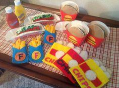 Felt food.  Hotdogs, Hamburgers, Fries and Chips