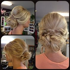 Prom updo upstyle loose messy curly curled braid blonde wedding